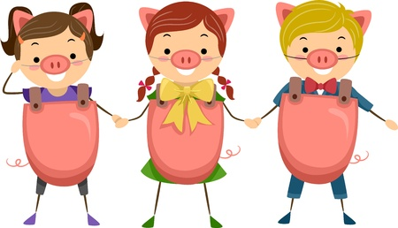 female mask: Illustration of Children Celebrating National Pig Day