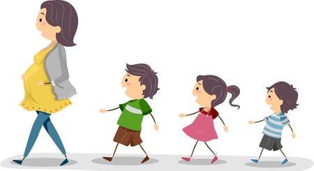 follow the leader: Illustratie van een zwangere moeder worden gevolgd door haar kinderen Stockfoto