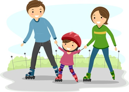 family members: Illustration of Parents Teaching their Kid to roller blade