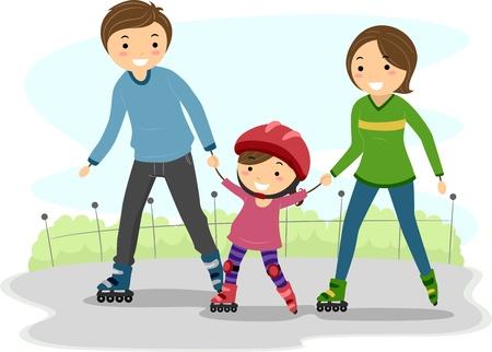 family clipart: Illustrazione dei genitori insegnare ai loro bambini roller blade