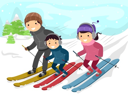 skiing: Illustration of a Family Skiing Together