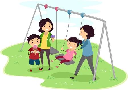 family clipart: Illustrazione di una famiglia che qualche tempo di qualit�
