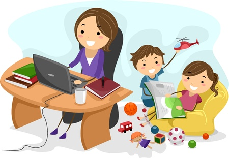 multitasking: Illustration Featuring a Working Mom Stock Photo