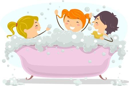 young girl bath: Illustration of Kids Celebrating Bubble Bath Day