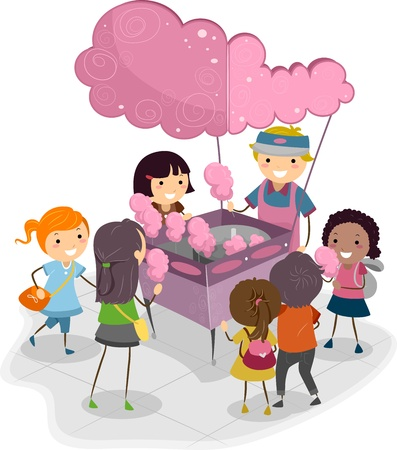 candy stick: Illustration of Kids Buying Cotton Candy