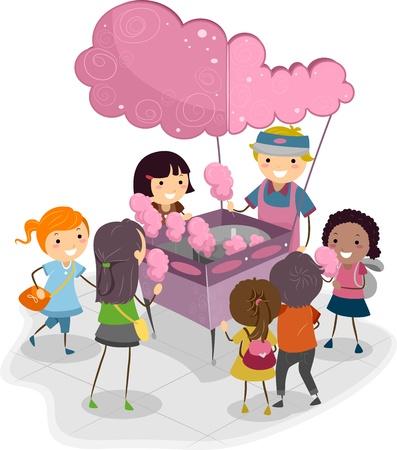 algodon de azucar: Ilustración de los niños compra el algodón de azúcar