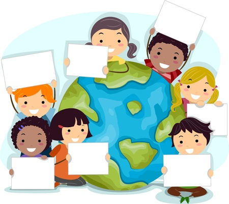 cartoon earth: Illustration of Kids Celebrating Earth Day Stock Photo