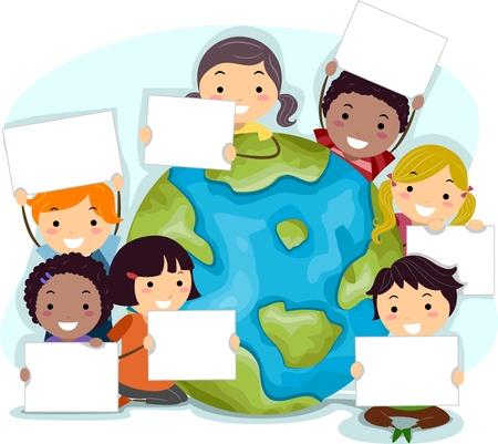 madre terra: Illustrazione di bambini celebrare la Giornata della Terra