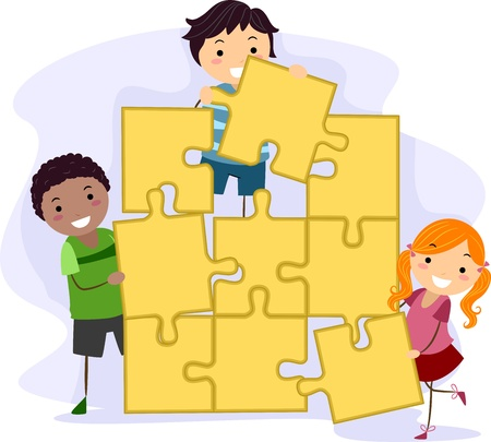 teamwork cartoon: Illustration of Kids Solving a Giant Jigsaw Puzzle Stock Photo