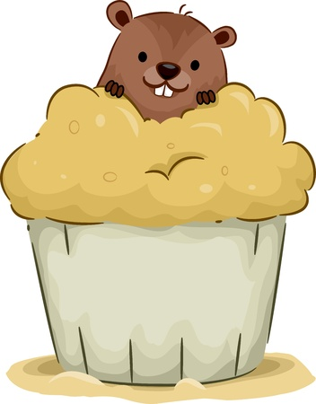 Illustration of a Groundhog Peeking From Behind a Cupcake illustration