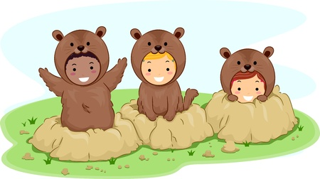 Illustration of Kids Dressed in Groundhog Costumes illustration