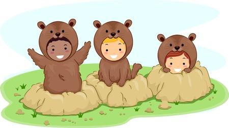 Illustration of Kids Dressed in Groundhog Costumes illustration
