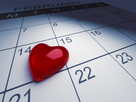 3D Illustration of Calendar with the 14th of February Marked illustration