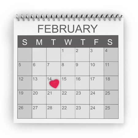 marked: 3D Illustration of Calendar with the 14th of February Marked