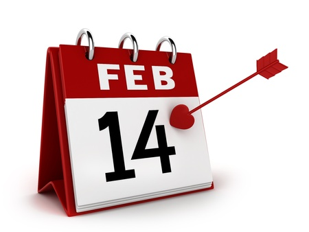 marked: 3D Illustration of a Calendar with the 14th of February Marked