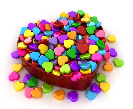 overflowing: 3D Illustration of Colorful Valentine Candies