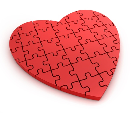 3D Illustration of a Heart-Shaped Jigsaw Puzzle Stock Illustration - 12214978