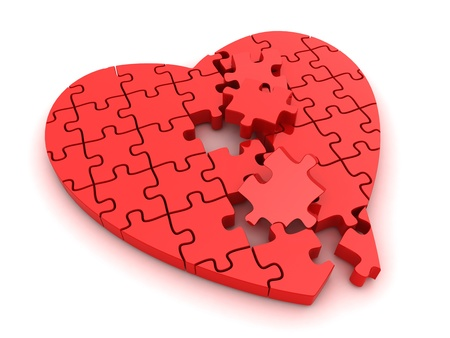 puzzle heart: 3D Illustration of a Broken Jigsaw Puzzle
