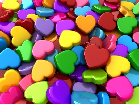love hearts: 3D Illustration of Colorful Valentine Hearts
