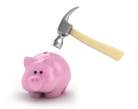 financial emergency: 3D Illustration of a Piggy Bank About to be Hit by a Hammer