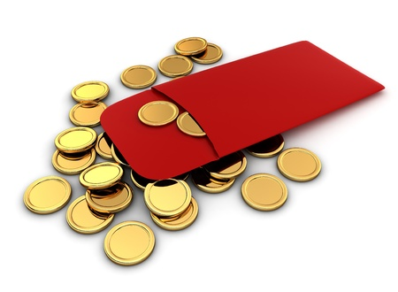 asian coins: 3D Illustration of Chinese New Year Coins Stock Photo