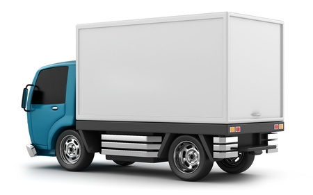 cargo truck: 3D Illustration of a Delivery Truck Stock Photo
