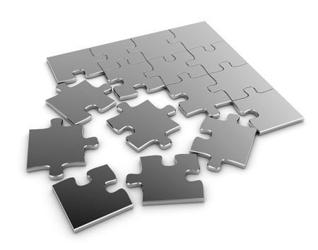 problem solving: 3D Illustration of a Jigsaw Puzzle