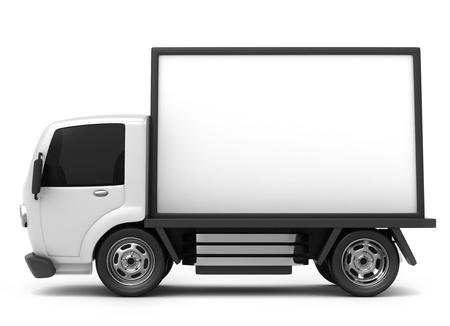 camion caricatura: Ilustraci�n 3D de una valla publicitaria m�vil de camiones de almacenamiento Foto de archivo