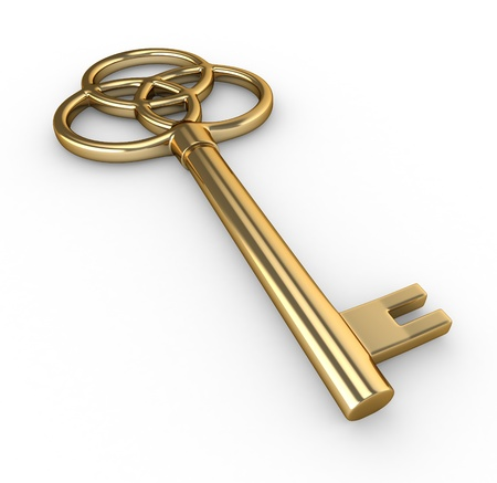 golden key: 3D Illustration of a Gold Key