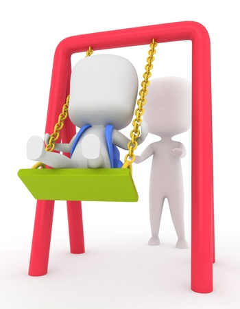 3D Illustration of a Kid Being Pushed on a Swing illustration