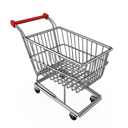 shopping trolley: 3D Illustration of a Shopping Cart Stock Photo