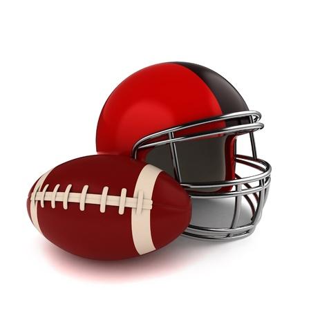 football helmet: 3D Illustration of a Footbal and Football Helmet