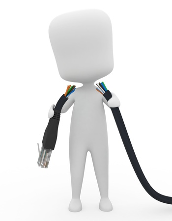 downtime: 3D Illustration of a Man Holding a Torn Cable Stock Photo