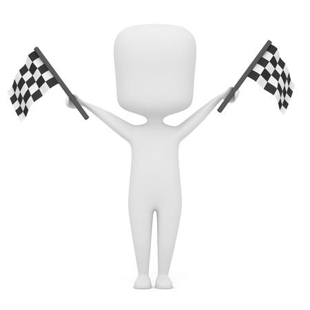 start: 3D-Illustration eines Mannes, der Rennen-Flaggen