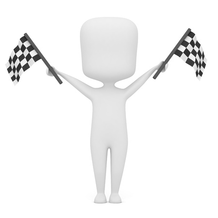 empezar: Ilustraci�n 3D de un hombre con las banderas de carreras Foto de archivo