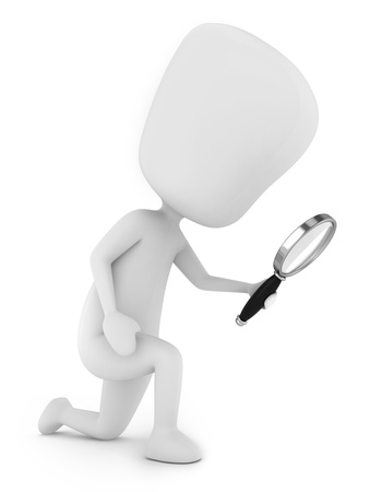 finding: 3D Illustration of a Man Doing a Search