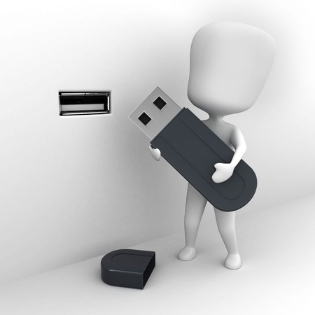 computer peripheral: 3D Illustration of a Man Holding a Flash Drive Stock Photo