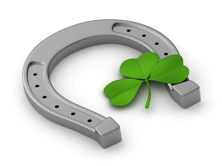 cartoon shamrock: 3D Illustration of a Clover and a Horseshoe