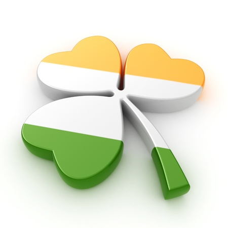 irish: 3D Illustration of a Clover with an Irish Flag Design Stock Photo