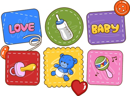 Illustration Featuring Baby Related Items Stock Illustration - 12325672