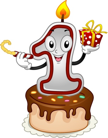 Illustration of a Birthday Candle Mascot Stock Illustration - 12325644
