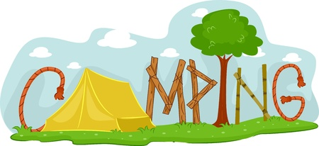 camping: Illustration Featuring a Campsite Stock Photo