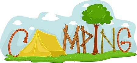 obóz: Ilustracja Featuring kempingu Zdjęcie Seryjne