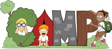 acampar: Ilustración de los niños de campamento Foto de archivo