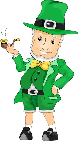 Illustration of a Leprechaun Smoking Stock Illustration - 12325616