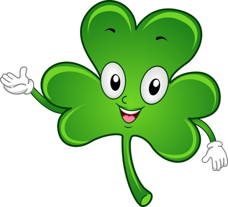 lucky charm: Illustration of a Shamrock Mascot Stock Photo