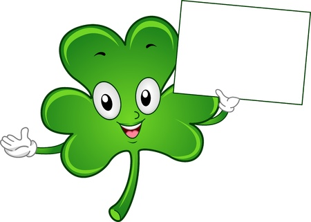 lucky clover: Illustration of a Shamrock Mascot Holding a Blank Board Stock Photo