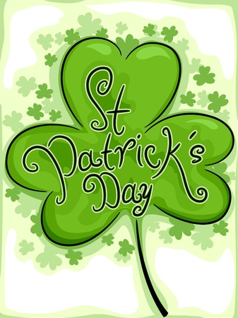 Illustration of a Shamrock with a St. Patrick's Day Text illustration