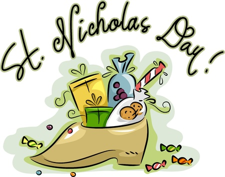 st  nicholas: Illustration of a Shoe Loaded with Presents Stock Photo