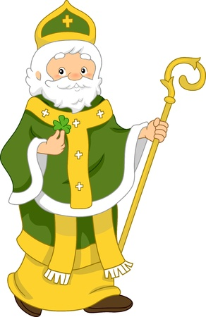 superstitions: Illustration of Saint Patrick Stock Photo